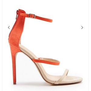 Nude and orange heels